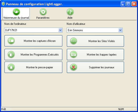 LightLogger Keylogger Page de Visionneuse du journal