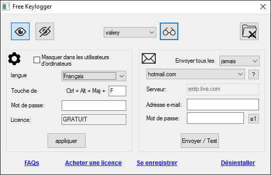 Keylogger Gratuit pour Windows full screenshot