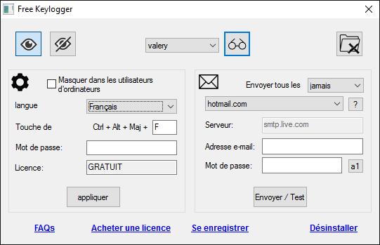 Keylogger Gratuit pour Windows full screenshot