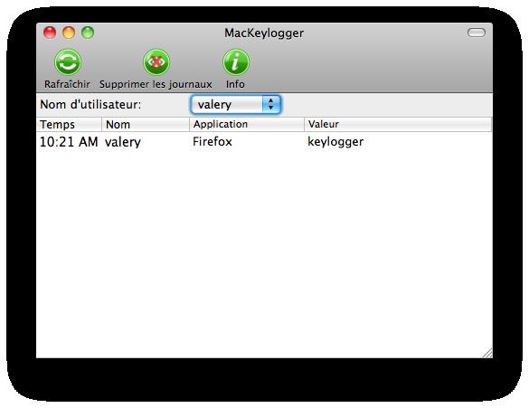 Keylogger pour Mac full screenshot