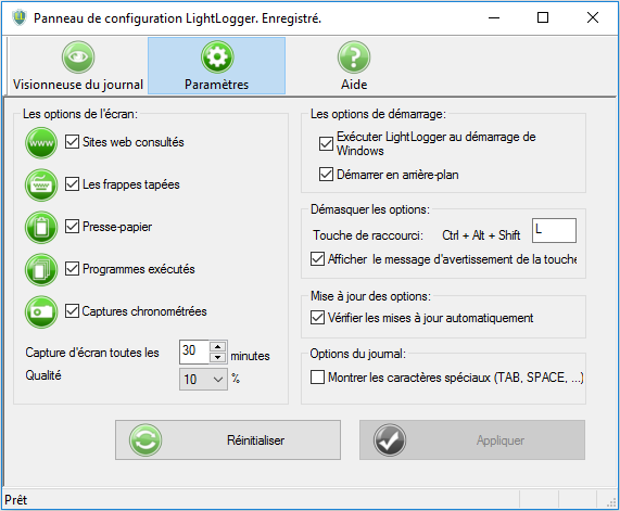 LightLogger Keylogger pour Windows full screenshot